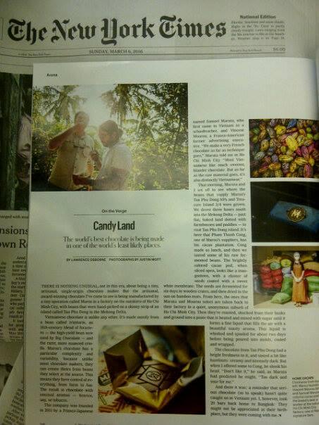 Bài viết về thanh Chocolate Việt Nam được hết lời khen ngợi trên trang báo New York Times vào tháng 3 vừa rồi.