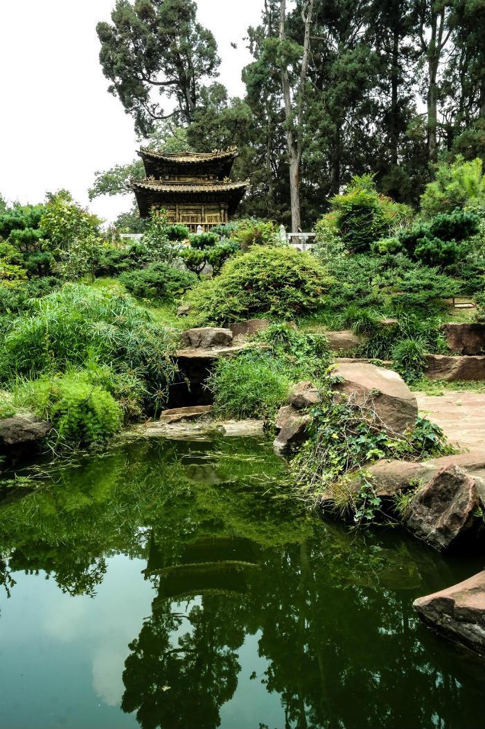Khu vườn xanh tươi nằm trên một ngọn đồi nhỏ