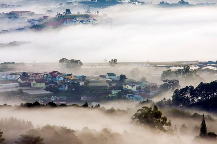 Đà Lạt thường được phủ bởi màn sương mù dày đặc vào sáng sớm và tối