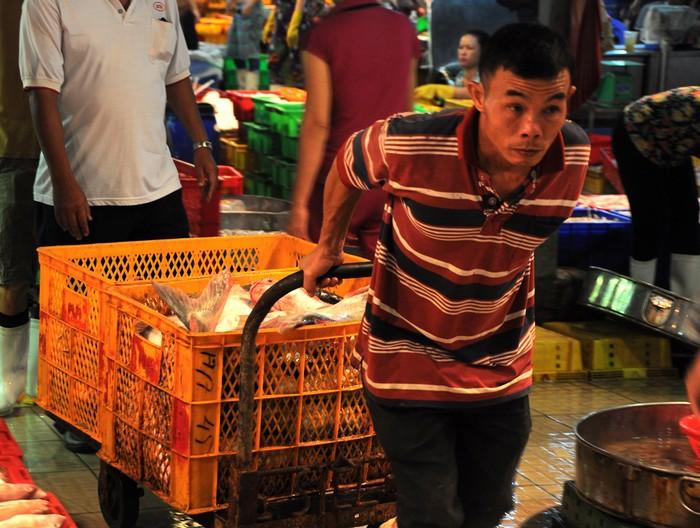 Cảnh mua bán vận chuyển tại chợ càng về sáng càng nhộn nhịp hơn. Rất nhiều công nhân chấp nhận thức đêm làm khuân vác và kéo cá thuê kiếm sống. Lương mỗi đêm hơn trăm nghìn đồng.
