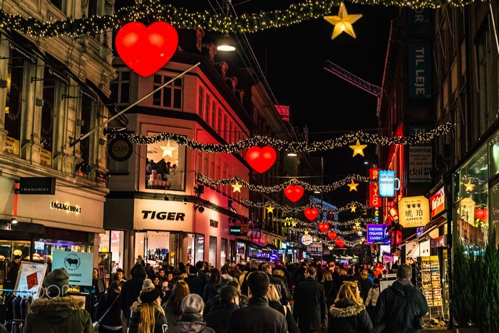 Phố Stroget mùa lễ Giáng sinh