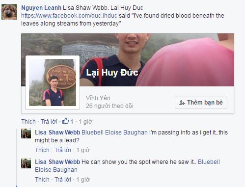 Huy Đức nói anh ấy đã thấy vết máu khô vào ngày hôm qua - Facebooker NguyenLeanh chia sẻ với thân nhân Aiden.