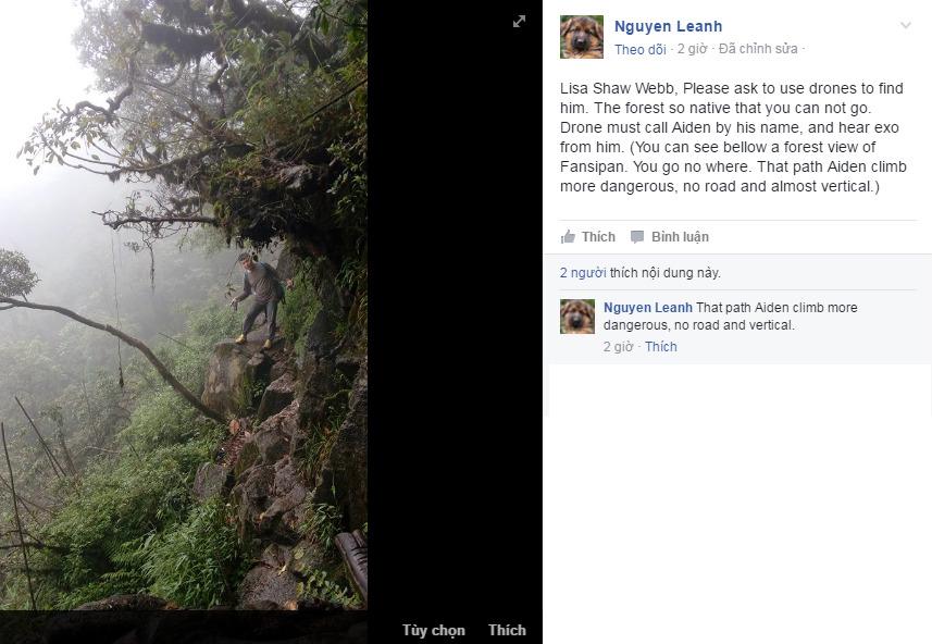 Nguyen Leanh cũng đề xuất hỗ trợ từ fly-cam vì địa hình quá khó tiếp cận bằng đường bộ.
