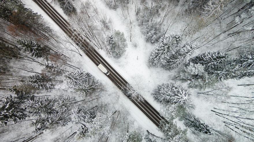 Con đường phủ tuyết trắng tại Vilnius, thủ đô của Vilta.