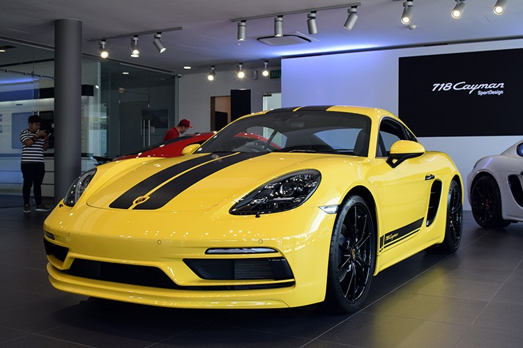 Porsche 718 Cayman SportDesign Front Side Yellow Launch