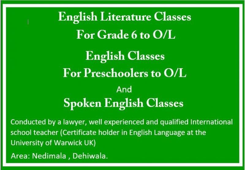 English and English Literature classes - Local & Cambridge syllabus (Preschoolers to O/L)