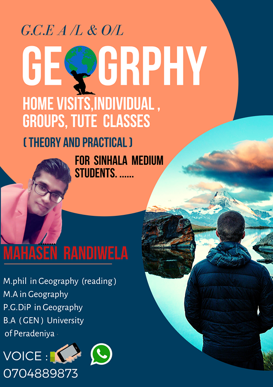 Geography -Home vist, Individual  and group tute classes  (A/L students )