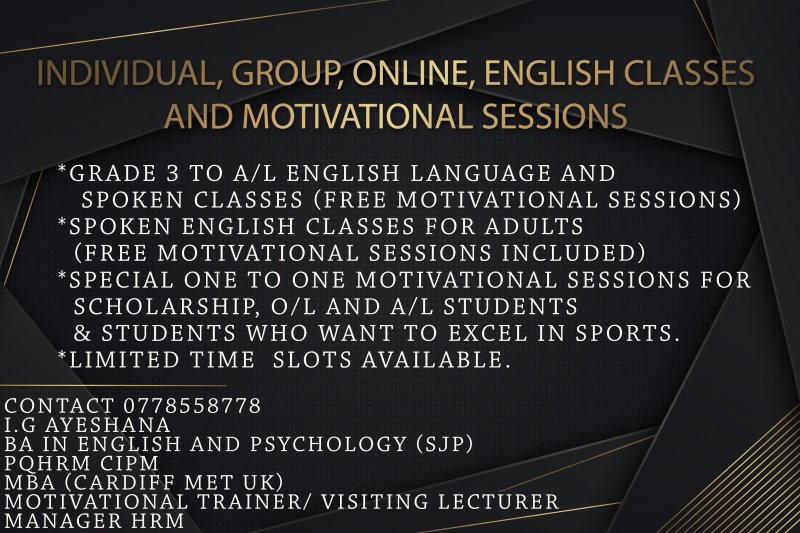 Special English classes and Motivational sessions ( Colombo and Gampaha)