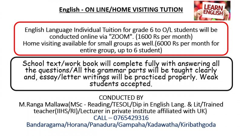 English - ON LINE/HOME VISITING TUTION