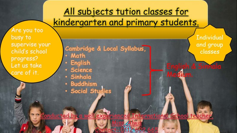 All subjects tution classes for kindergarten and primary students.