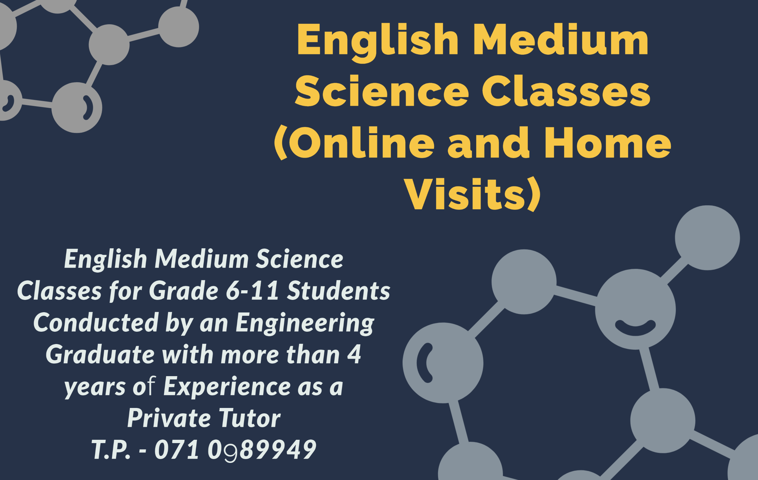 O/L Science English and Sinhala medium (Home visits and Online)