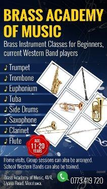 Training of Trumpet, Trombone, Euphonium, Tuba, Saxophone, Flute, Side Drums
