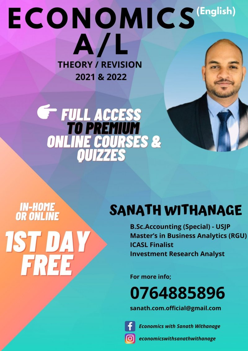 A/L Economics, Business Studies & Accounting (Theory / Revision / Paper Classes) - 1ST DAY for FREE