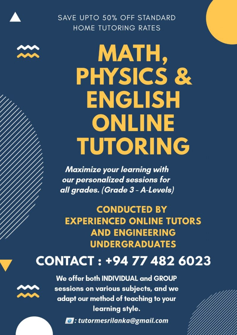 ONLINE MATHEMATICS AND PHYSICS TUTORING grade 5-9,O/Levels and A/Levels. (Local syllabus/ London syllabus)