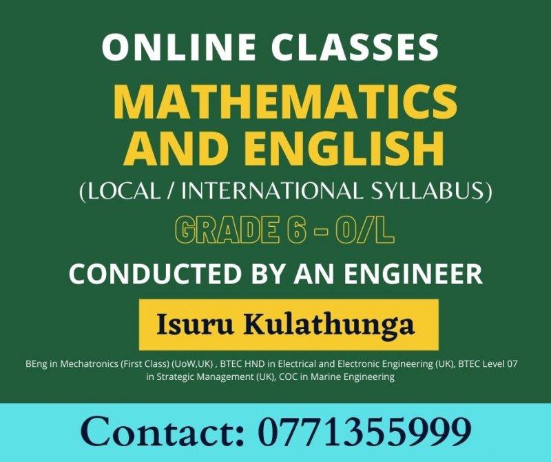 Mathematics and English Classes  (Online/ Homevisit)