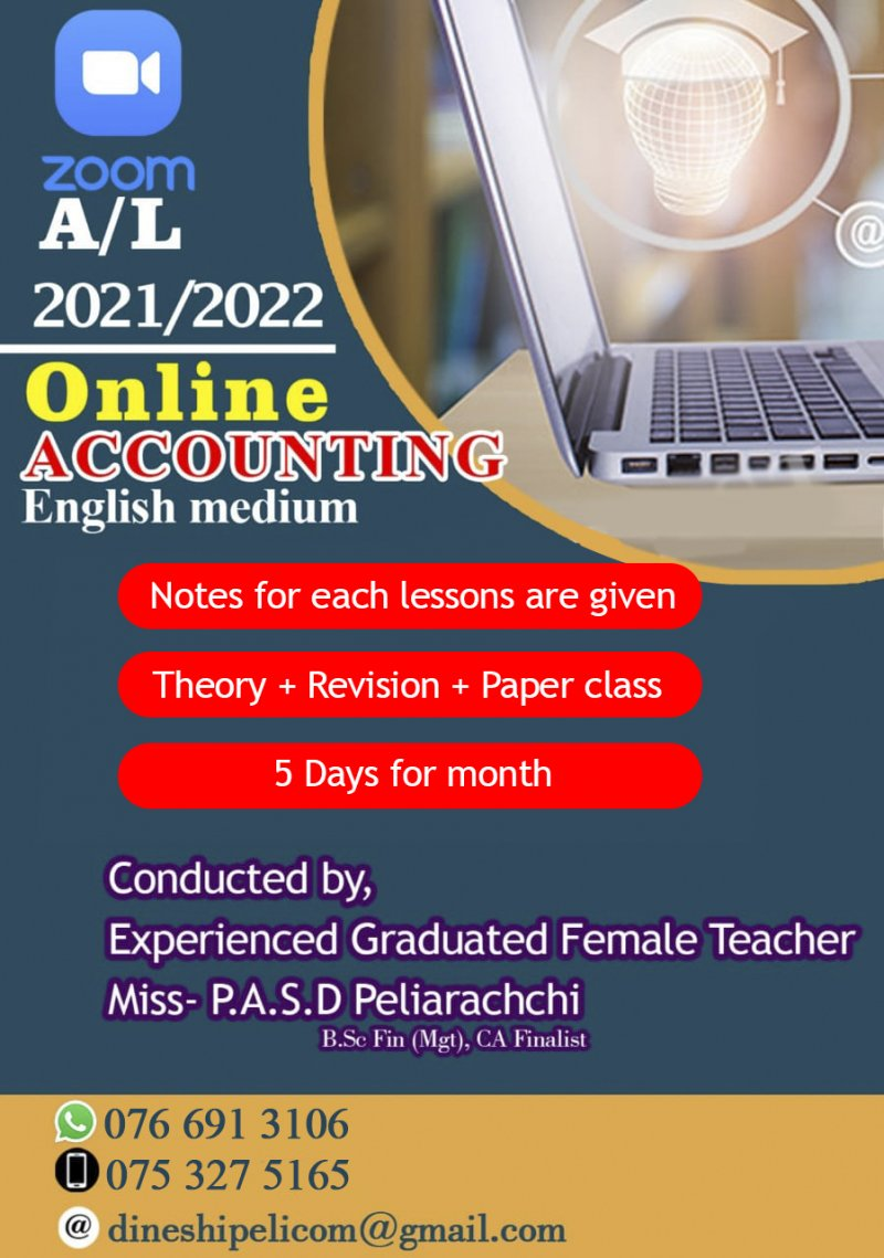Online A/L Accounting Group Classes via Zoom