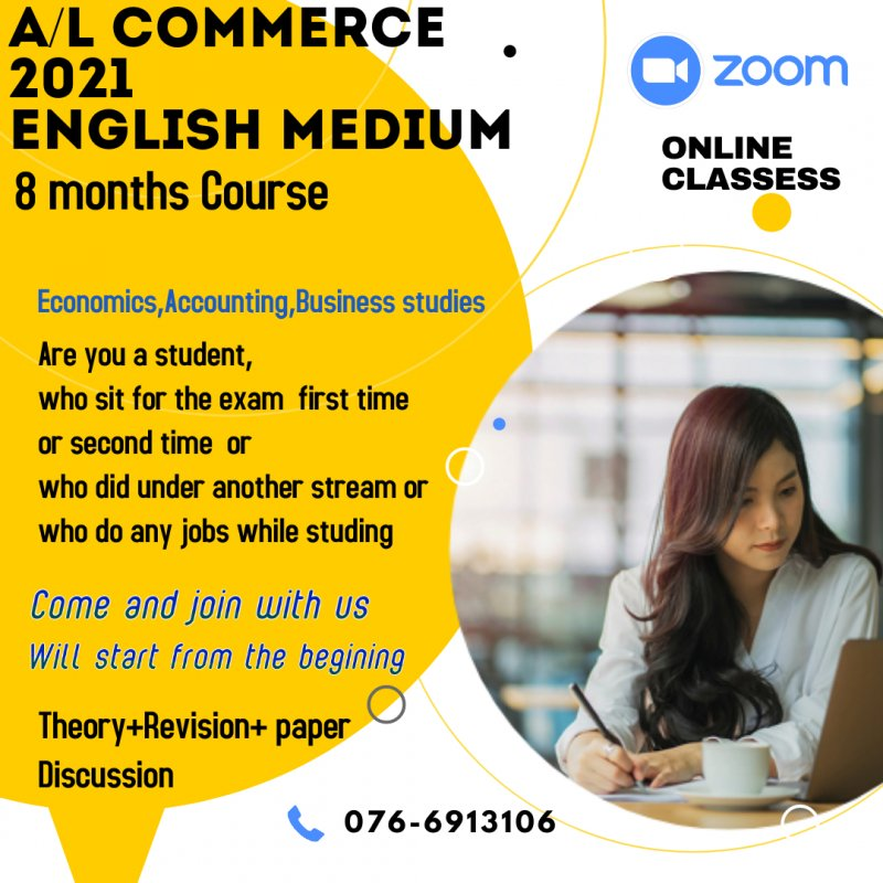 A/L English medium Accounting, Economics, Business Studies 8 month course via online