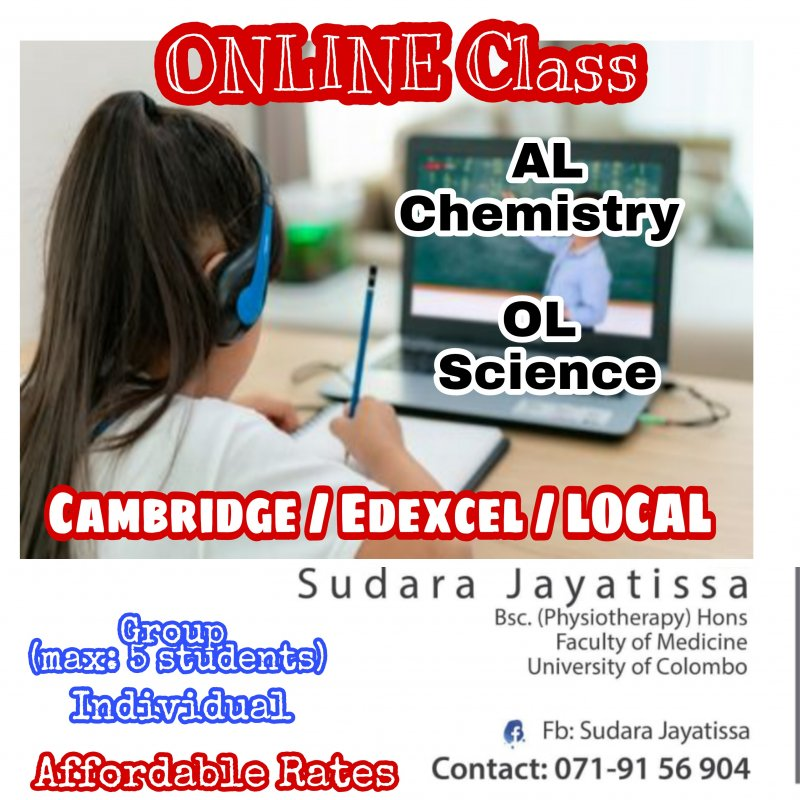 Online Chemistry (Local AL/Cambridge/Edexcel) & Science for grade 6 to 11