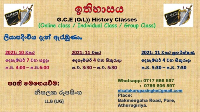 Grade 10 & 11 History Classes