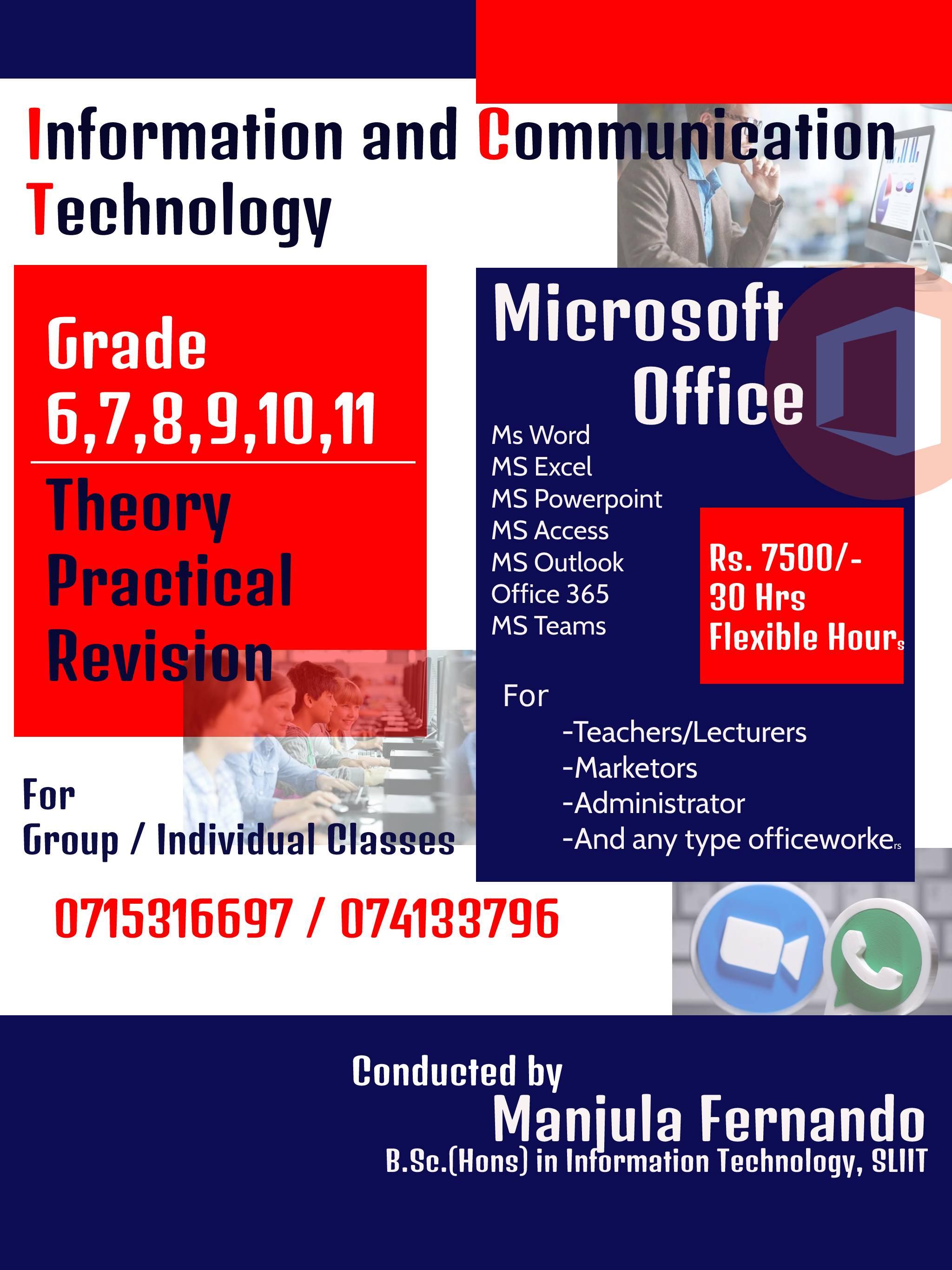 ICT  English/Sinhala Medium for Grade 6 - 9, O/L and A/L
