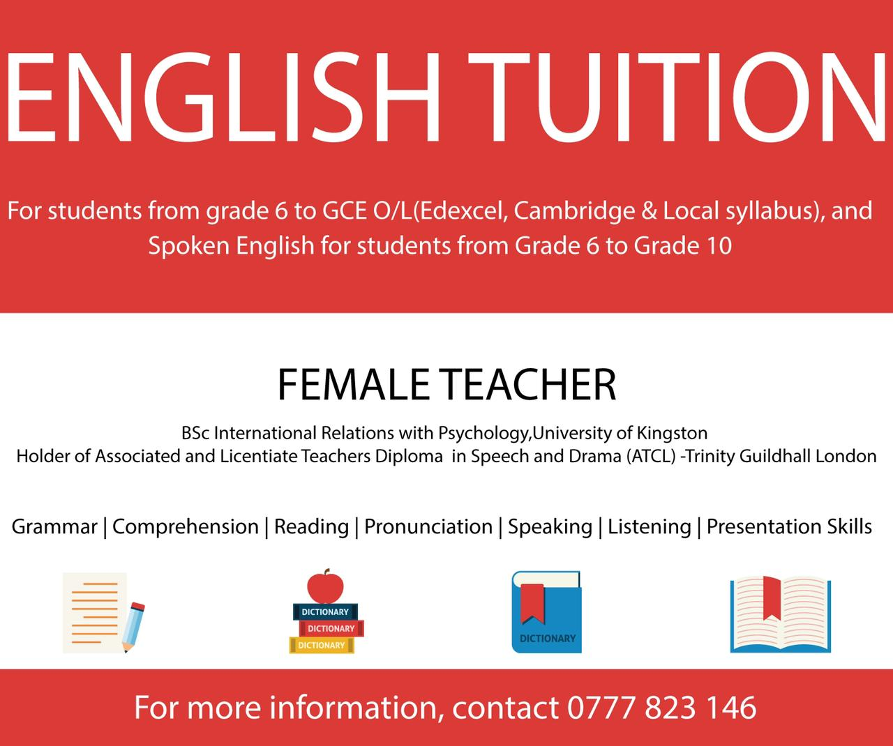 Classes conducted by a well experienced female teacher with over 7 Years of teaching experience, along with corporate work experience in hospitality