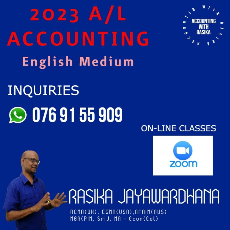 Accounting AL 2023, English Medium, Online Classes