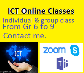 Information & Communication Technology English medium class ONLINE. Individual & group class.