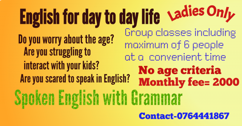 English for All, Spoken English with Grammar, No age criteria, Only for Ladies