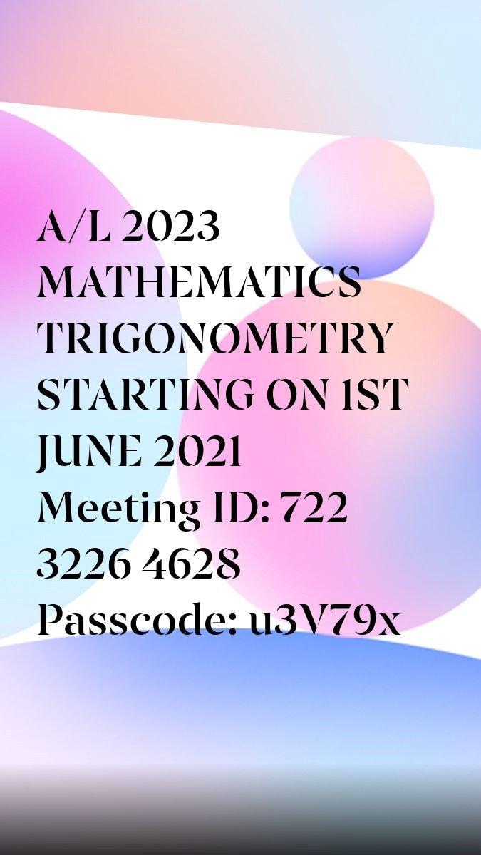 Advanced Level Maths English/ Tamil