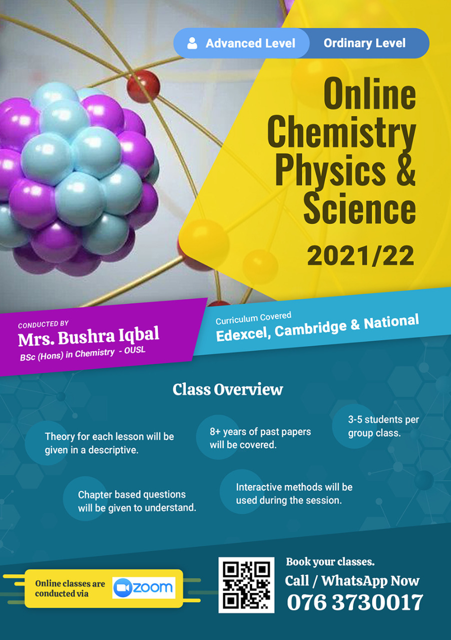 Online Chemistry, Physics and Science classes for A/L and O/L.