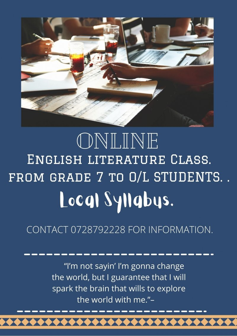 Online English Literature Tuition to grade 7 - o/l