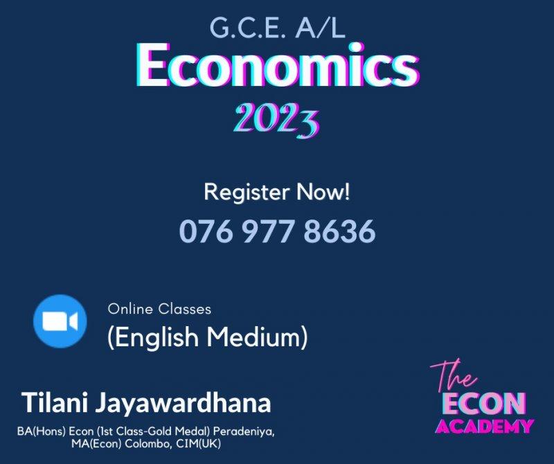 Economics Advance Level 2023 English Medium Group and Individual Classes