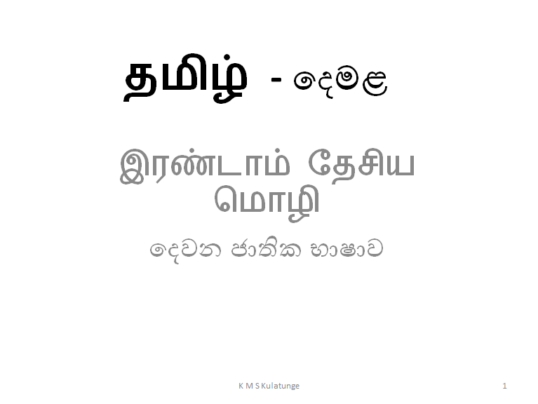 Tamil (Second Language) Online Classes by a National School experienced teacher