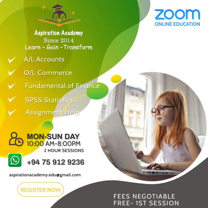Online Tutor Sessions for O/L Commerce, A/L Accounting, Finance, SPSS and Assignment Writing