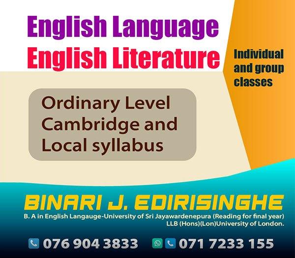 O/L English Language And Literature - Cambridge(IGCSE) Grade 9 - 10, Local Syllabus Grade 10 -11