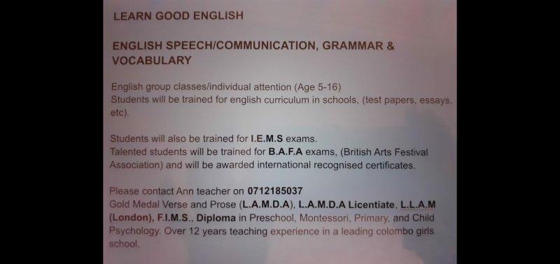 ENGLISH SPEECH/ COMMUNICATION, GRAMMAR & VOCABULARY