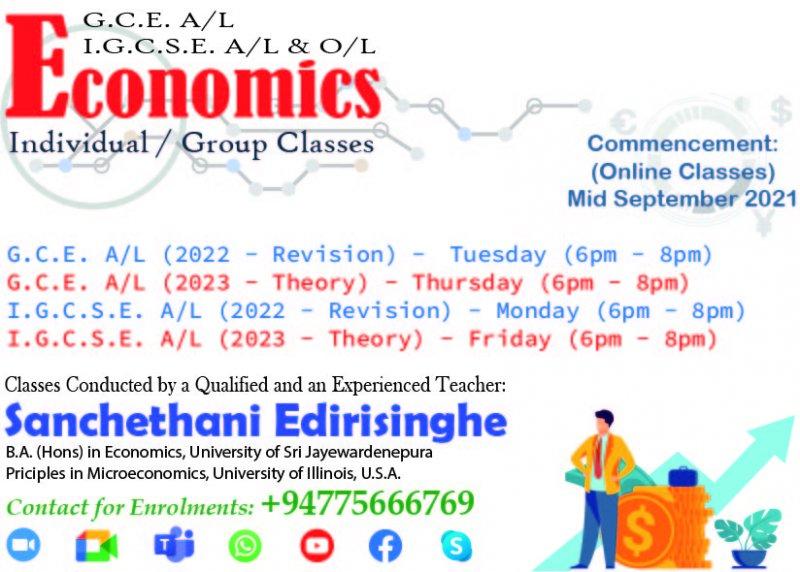 ECONOMICS - (G.C.E. A/L, I.G.C.S.E. A/L &O/L)