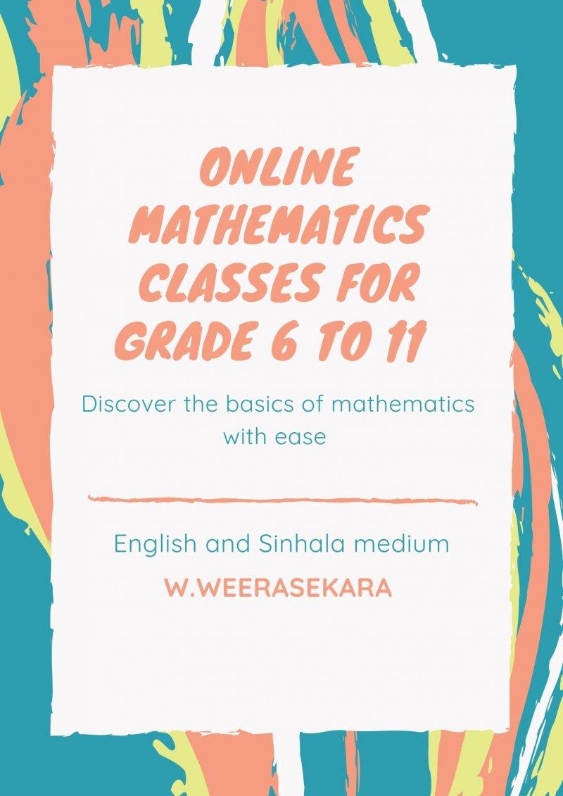 Online Mathematics Classes Local Syllabus English and Sinhala Medium for Grade 6 to 11