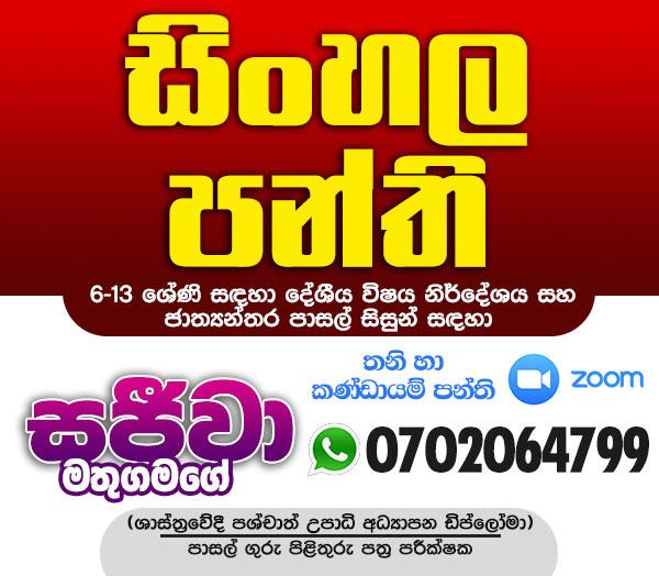 Sinhala Classes-පාසල් ගුරු/ පිළිතුරු පත්ර පරීක්ෂක