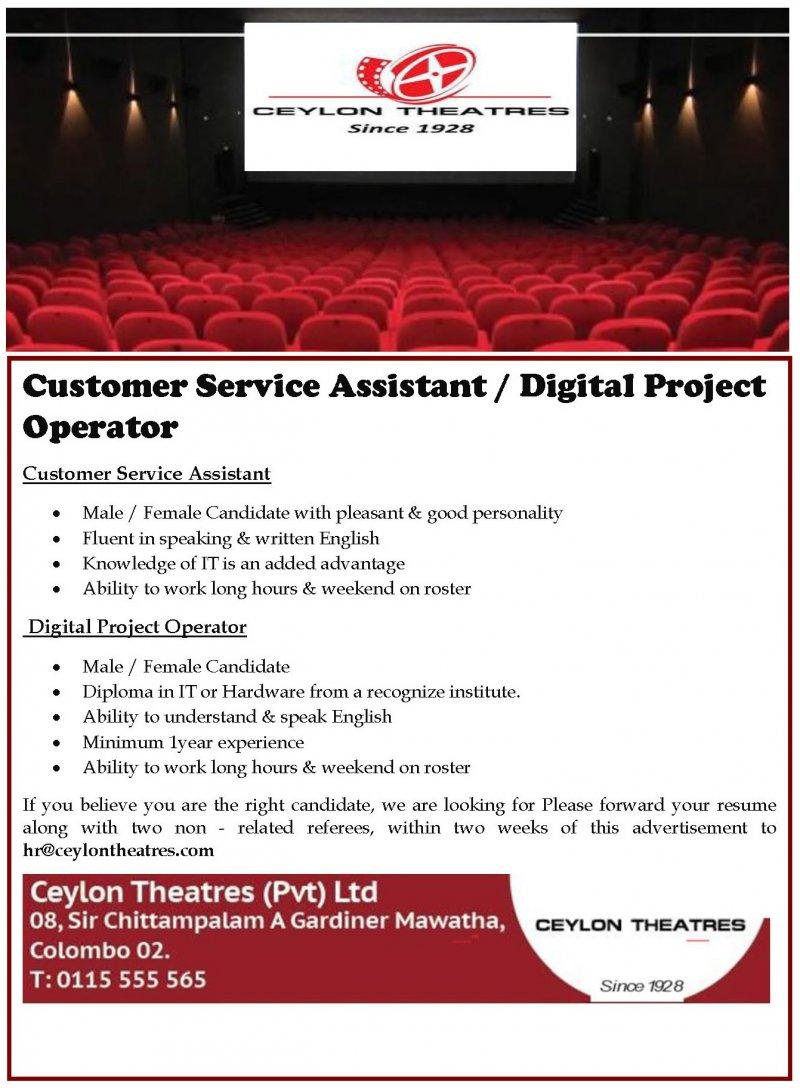 Customer Service Assistant / Digital Project Operator