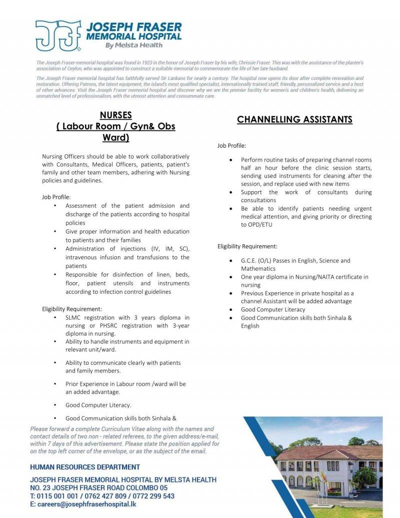 Nursing / Channeling Assistants