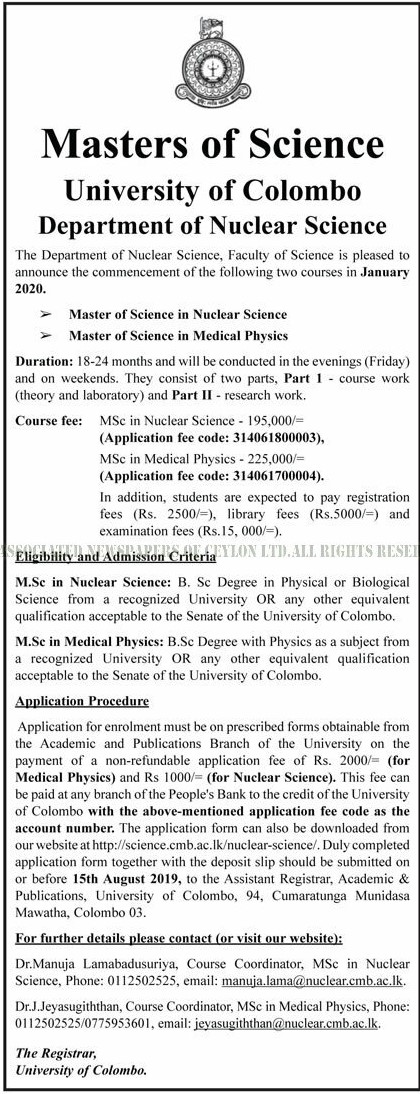 Master of Science in Nuclear Science, Master of Science in