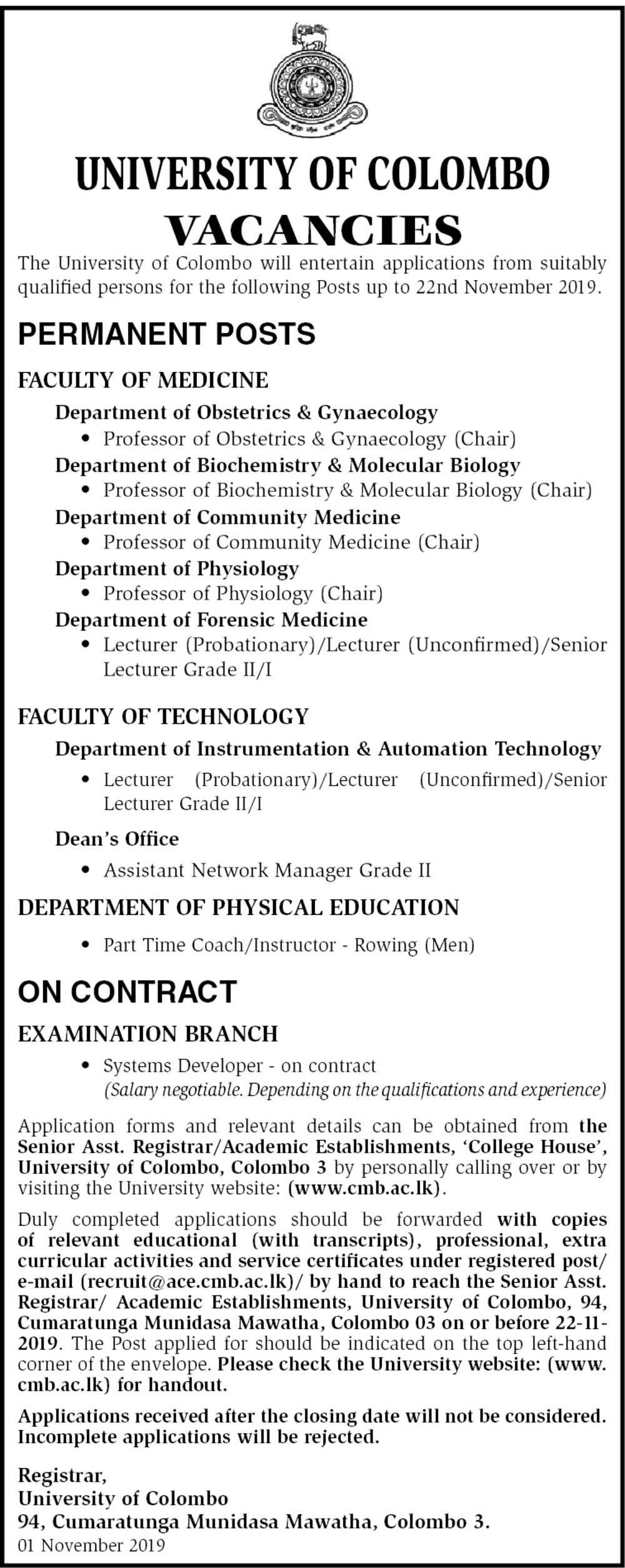 Assistant Network Manager, Couch/Instructor, Systems Developer, Lecturer, Professor - University of Colombo
