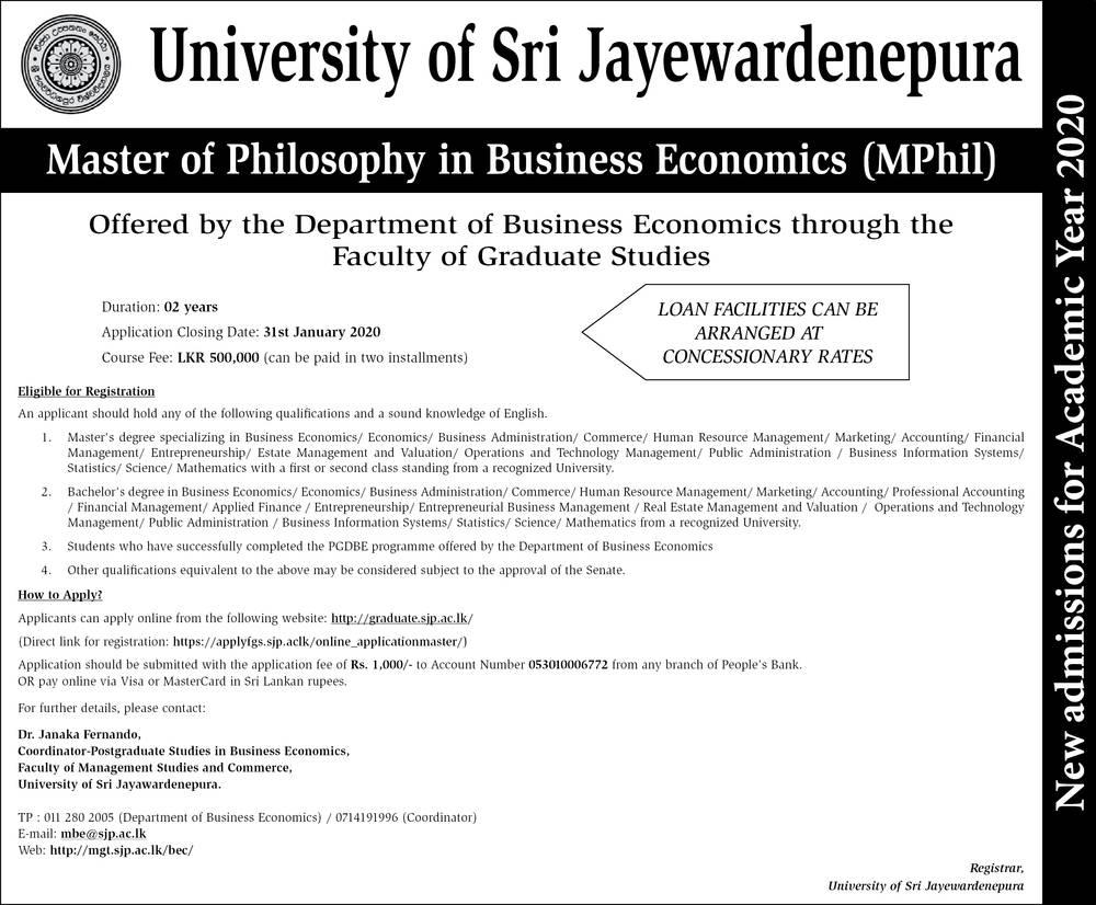 Master of Philosophy in Business Economics (MPhil) - University of Sri Jayewardenepura