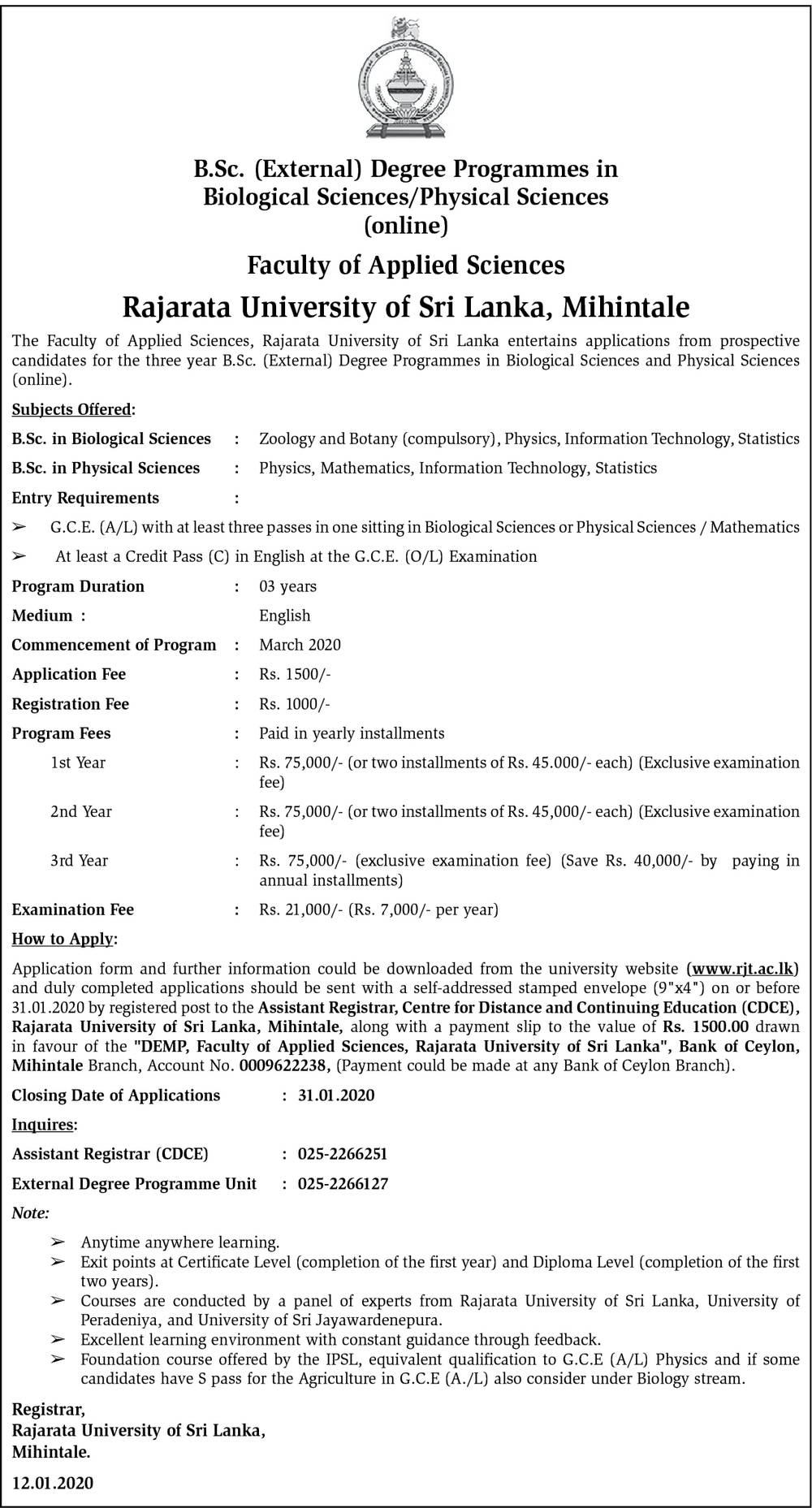 B. Sc. (External) Degree Programmes in Biological Sciences/Physical Sciences - Faculty of Applied Sciences - Rajarata University of Sri Lanka