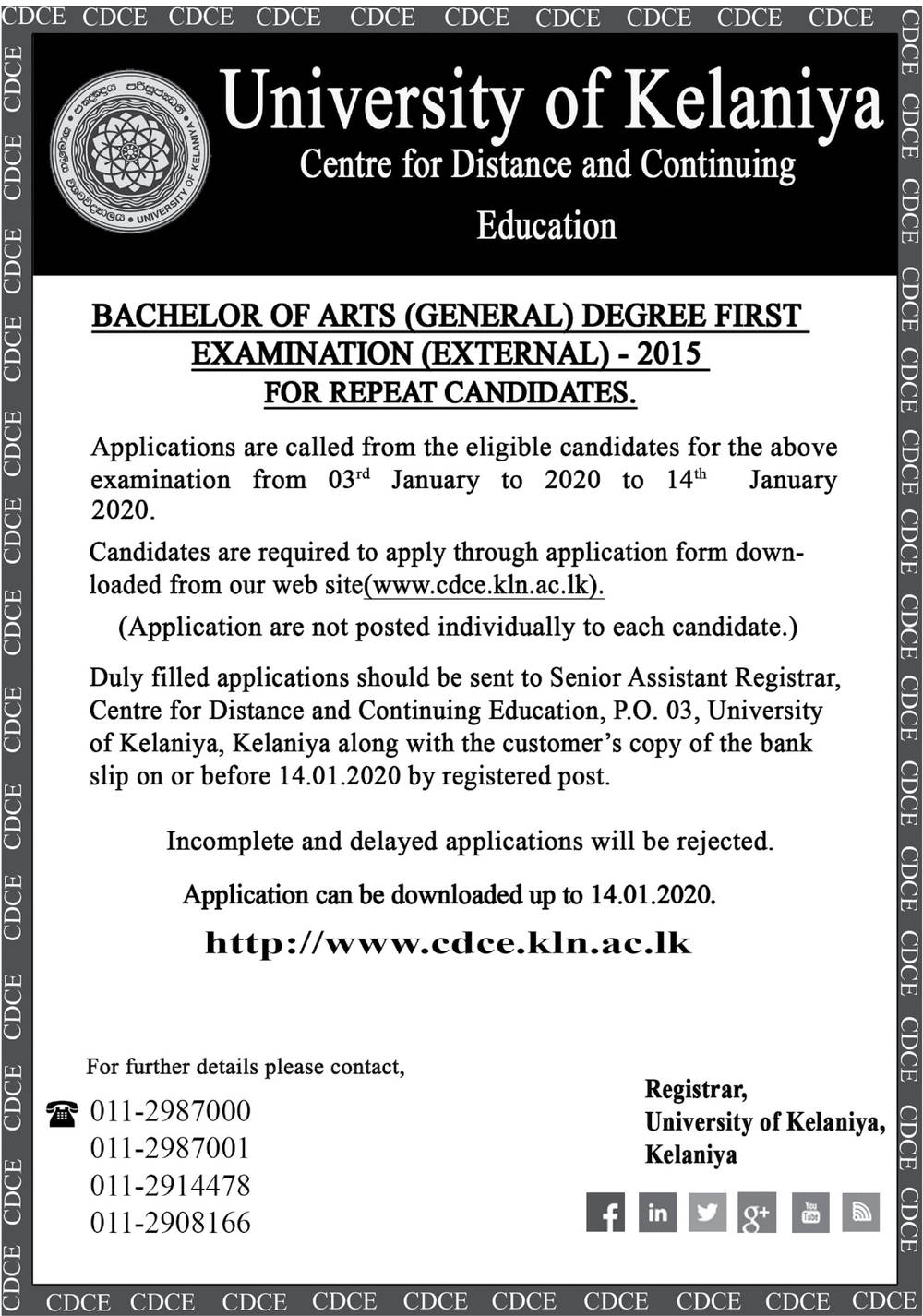Bachelor of Arts (General) Degree First Examination (external) - Centre for Distance & Continuing - University of Kelaniya