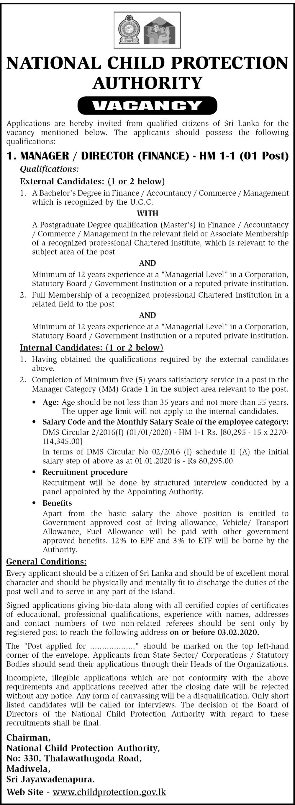 Manager / Director (Finance) - National Child Protection Authority