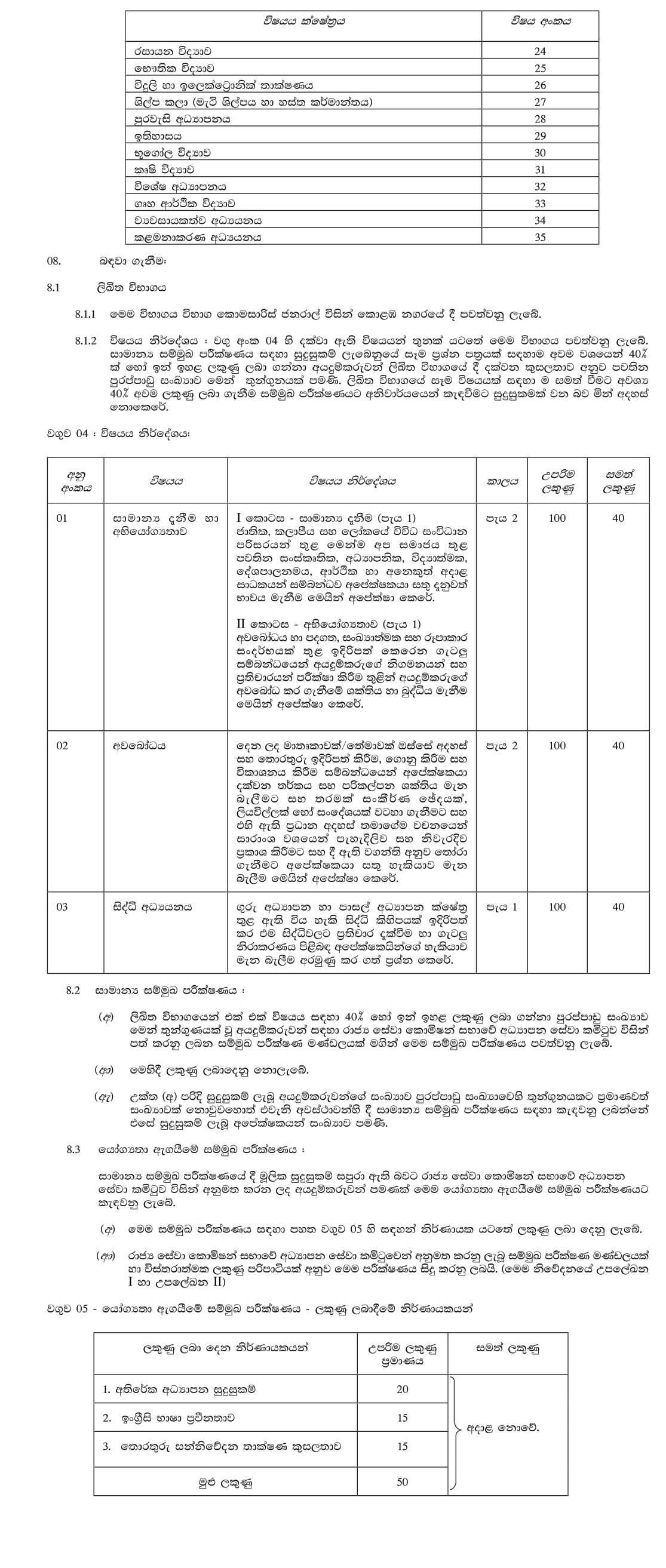 Open Competitive Examination for Recruitment to Grade III of the Sri Lanka Teacher Educators' Service 2019 (2020) -Ministry of Education