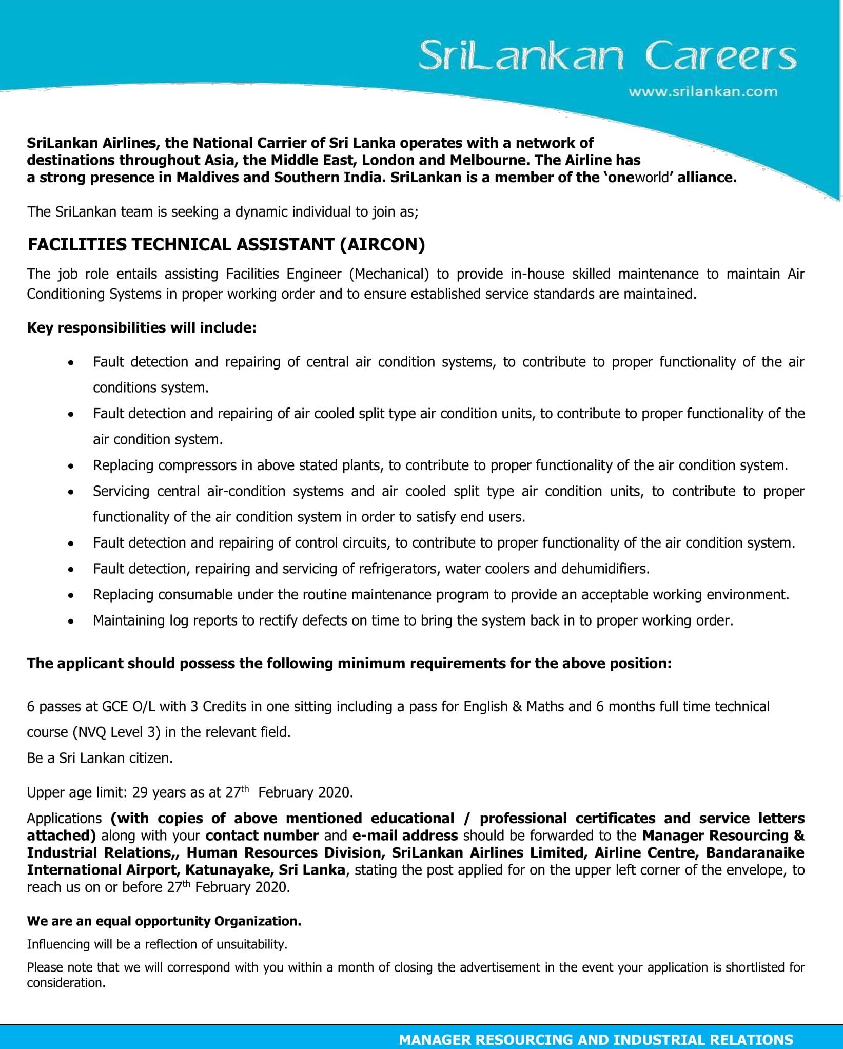 Facilities Technical Assistant (Generator, Aircon) - Sri Lankan Airlines Ltd