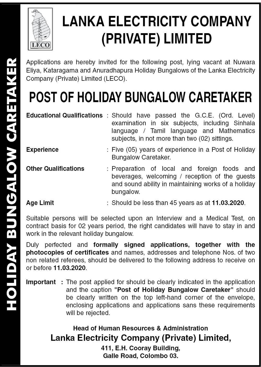 Holiday Bungalow Caretaker - Lanka Electricity Company (Pvt) Ltd